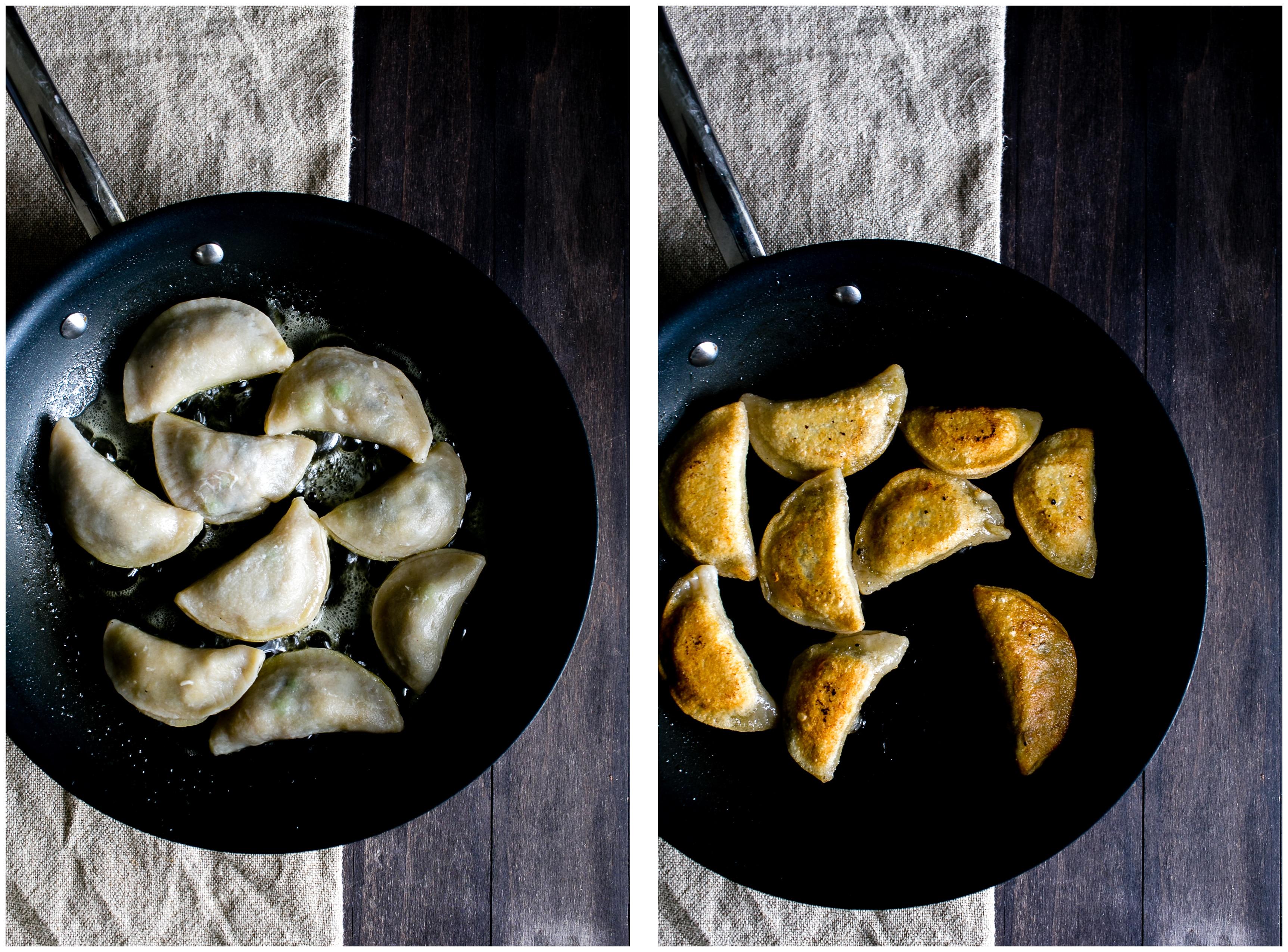 Frying Pierogies in a nonstick pan.