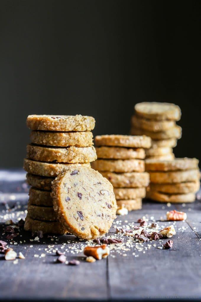Stacked pecan shortbread cookies.