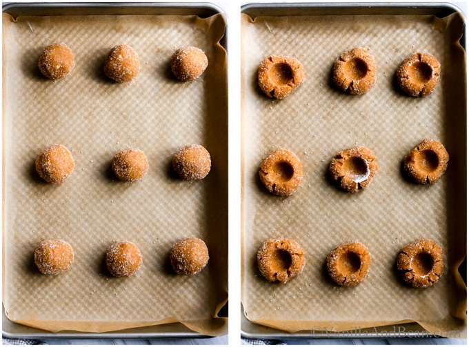 Cookie dough rolled into balls and with a well in the center for ganache.