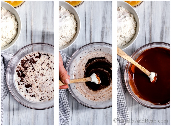 Making ganache - three pictures - melting chocolate in coconut milk and stirring it with a spatula.