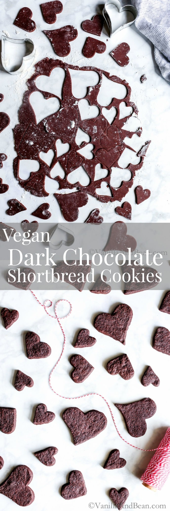 Rich, and over the top chocolatey, Vegan Dark Chocolate Shortbread Cookies are cut to whatever shape you want! Make sandwich cookies, decorate them or enjoy just as they are. A treat anytime of the year! Vegan. Egg-Free, Dairy-Free., Recipe