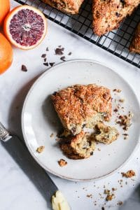 Blood Orange and Chocolate Chip Scones on a plate.