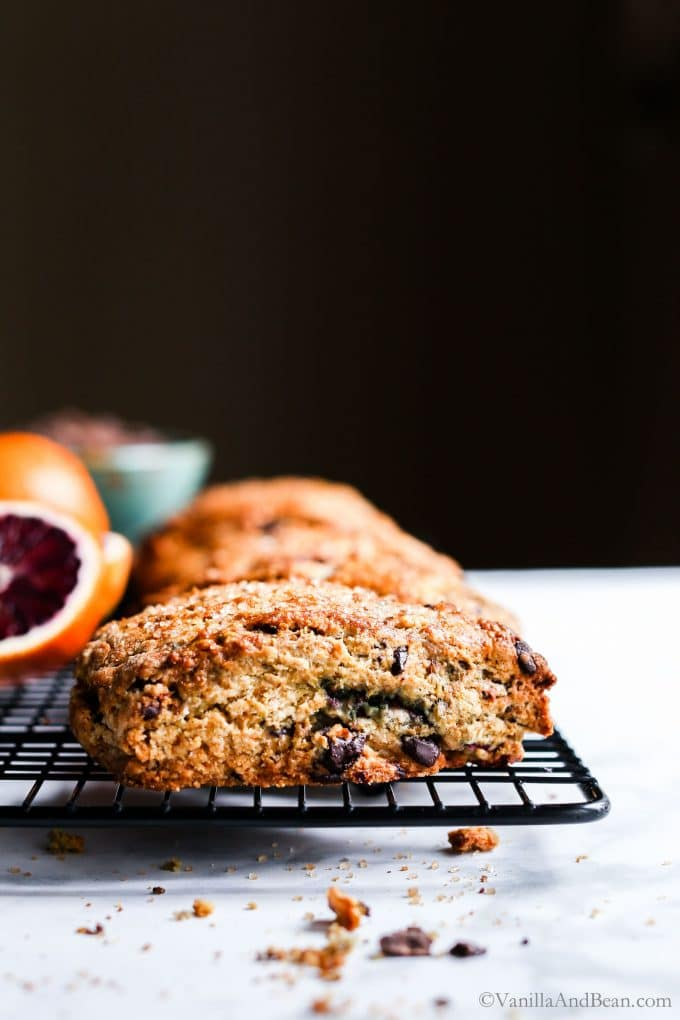 Blood Orange and Chocolate Chip Scones on a cooling wrack.