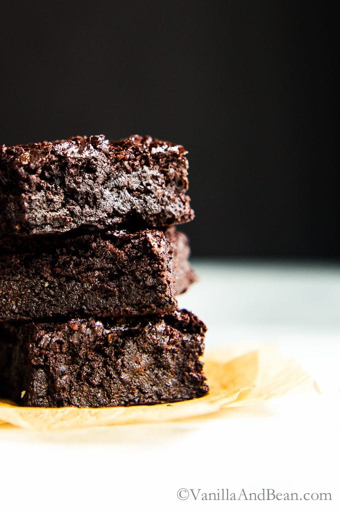 Chocolate Hazelnut Brownies stacked three high.