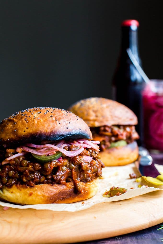 Two Vegan Sloppy Joes Sandwiches.
