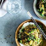 Overhead shot of Garlicky Asparagus, Mushroom and Bok Choy Noodle Bowls.