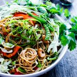 A flavor packed sauce with crunchy veggies, Sesame-Ginger Noodle Salad with Cashews comes together with ease. Make once, eat all week! Vegan + Optionally Gluten Free