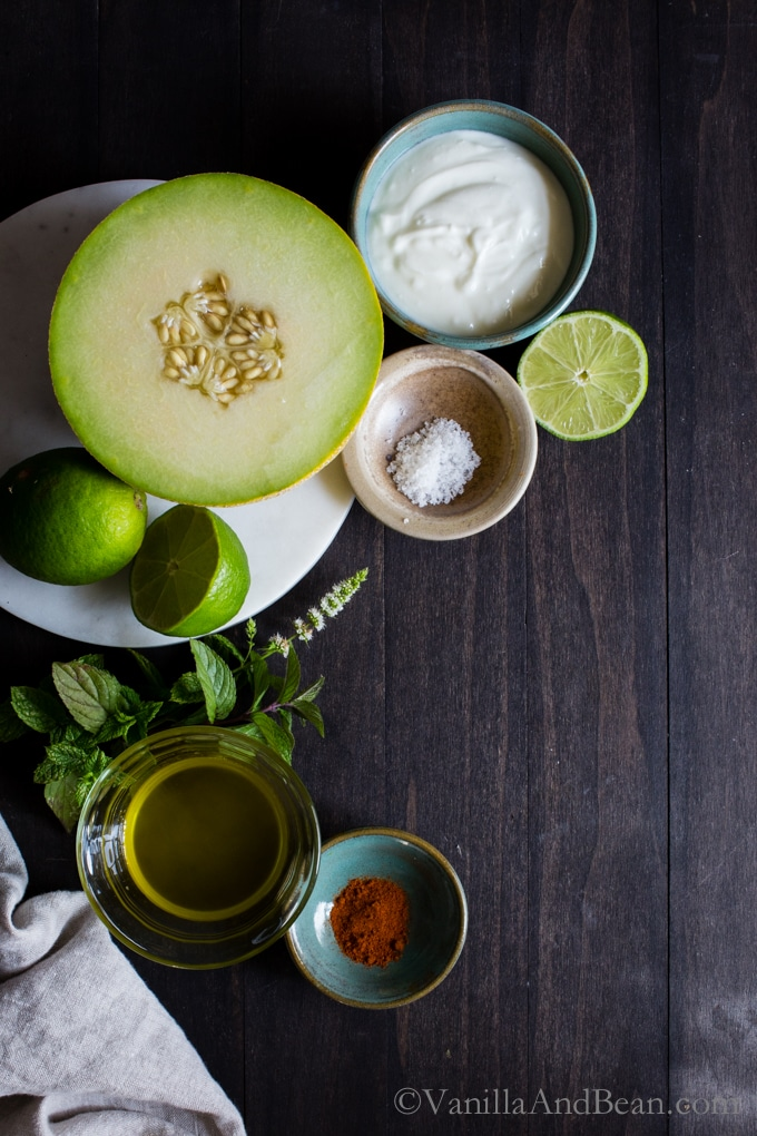 Ingredients for Chilled Melon Soup.
