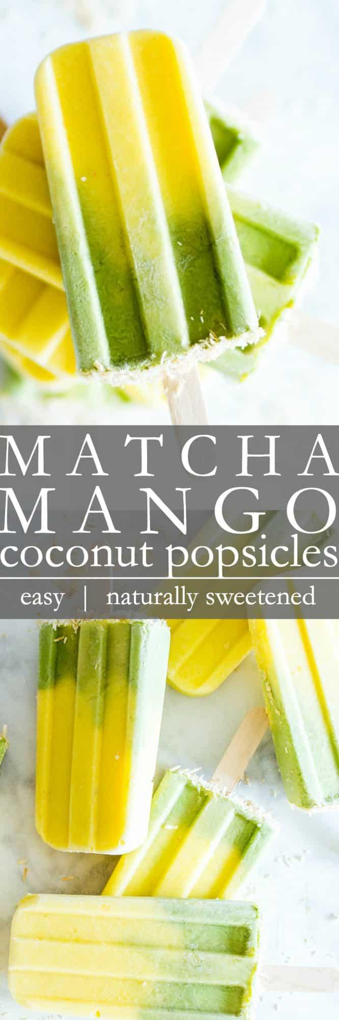 Matcha-Mango Coconut Popsicles