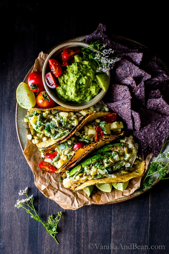 Packed with juicy summer veggies: Creamy Corn, Zucchini and Poblano Tacos | These Vegetarian tacos are simple to pull together and are gluten free and freezer friendly