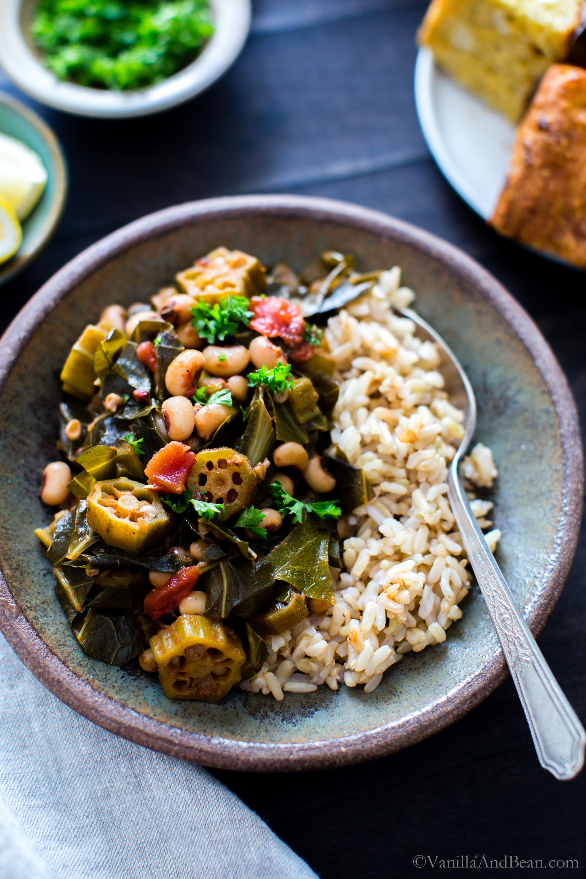 Simple, saucy and over the top texture and flavor in Harissa Stewed Black-Eyed Peas with Okra and Collard Greens; a one pot meal! vegan + gluten free |
