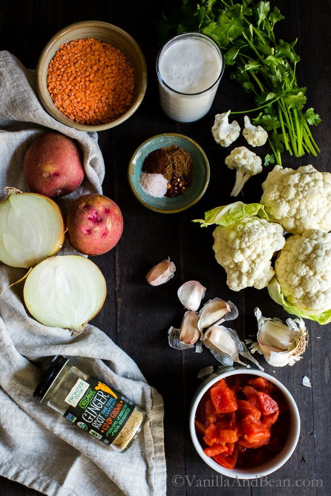 Cauliflower-Potato Red Lentil Curry Recipe Image Ingredients