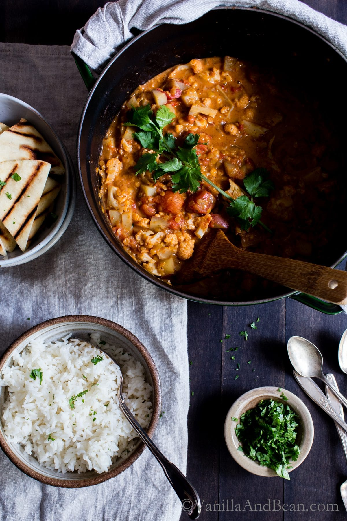 Overhead shot of Cauliflower-Potato Red Lentil Curry shared with rice and Naan.