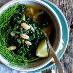 Quick to pull-together, hearty and nourishing. Lemon-Garlic White Bean, Kale and Fennel Soup makes a cozy meal. #vegan + #glutenfree #Soup #Recipe