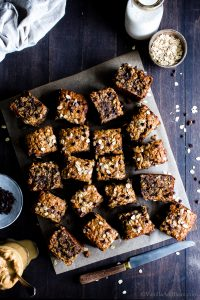 Overhead shot of Peanut Butter Banana Chocolate Chip Breakfast Bars cut and ready for sharing.