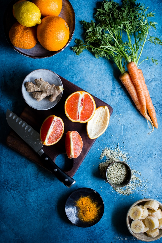 For the coldest months of the year, add a little sunshine to your routine with a Carrot-Ginger Citrus Immune Boosting Smoothie. It comes together fast and is an easy way to start the day on a healthy note. Vegan + Gluten Free