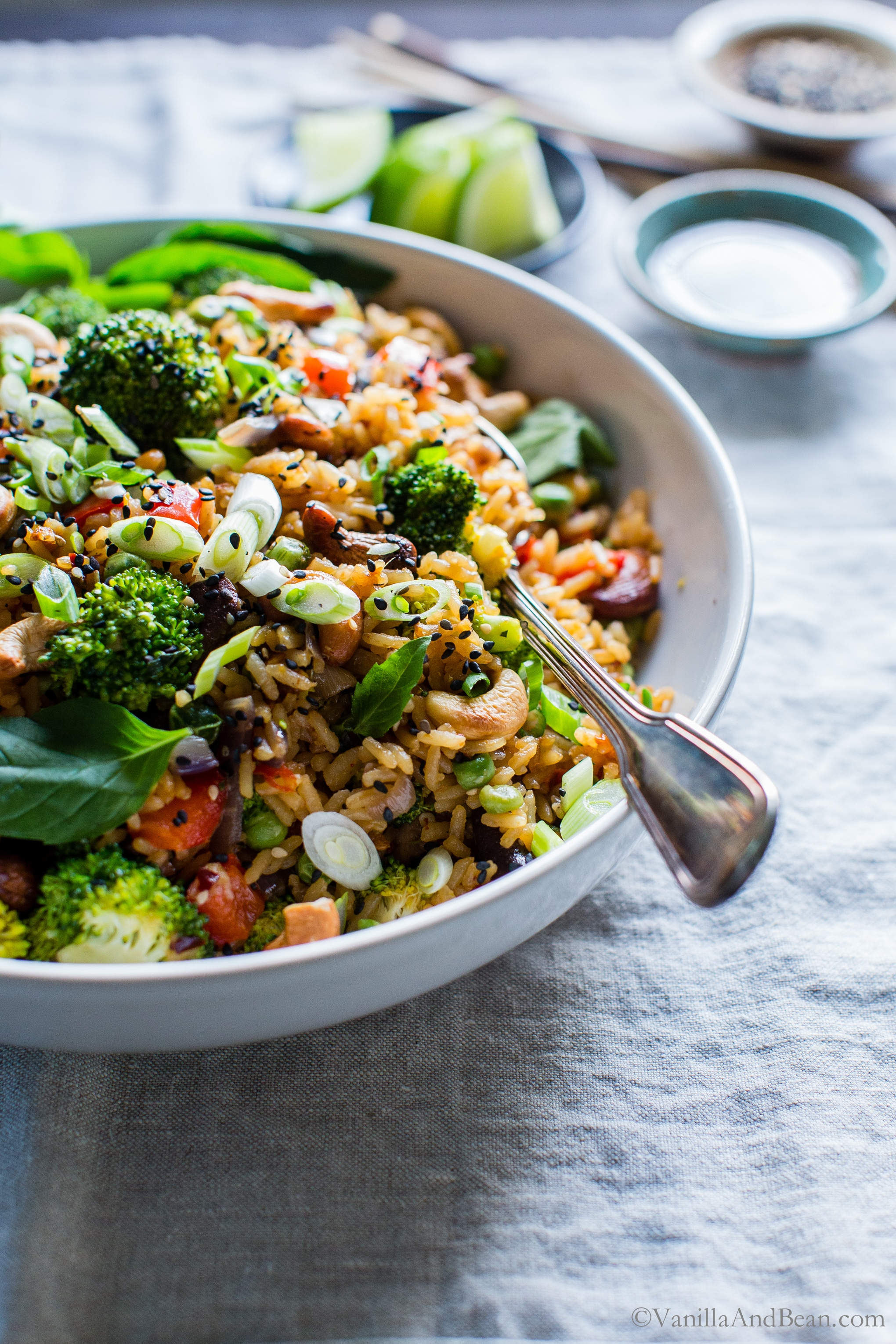 Crunchy, seasonal veggies shine in Thai Vegetable Fried Rice with Cashews. Prep ahead for meal planning and dinner comes together fast! Top with crunchy sesame seeds and green onions, for that authentic flavor. #veganRecipes #vegetarianRecipes #GlutenFree #FriedRice