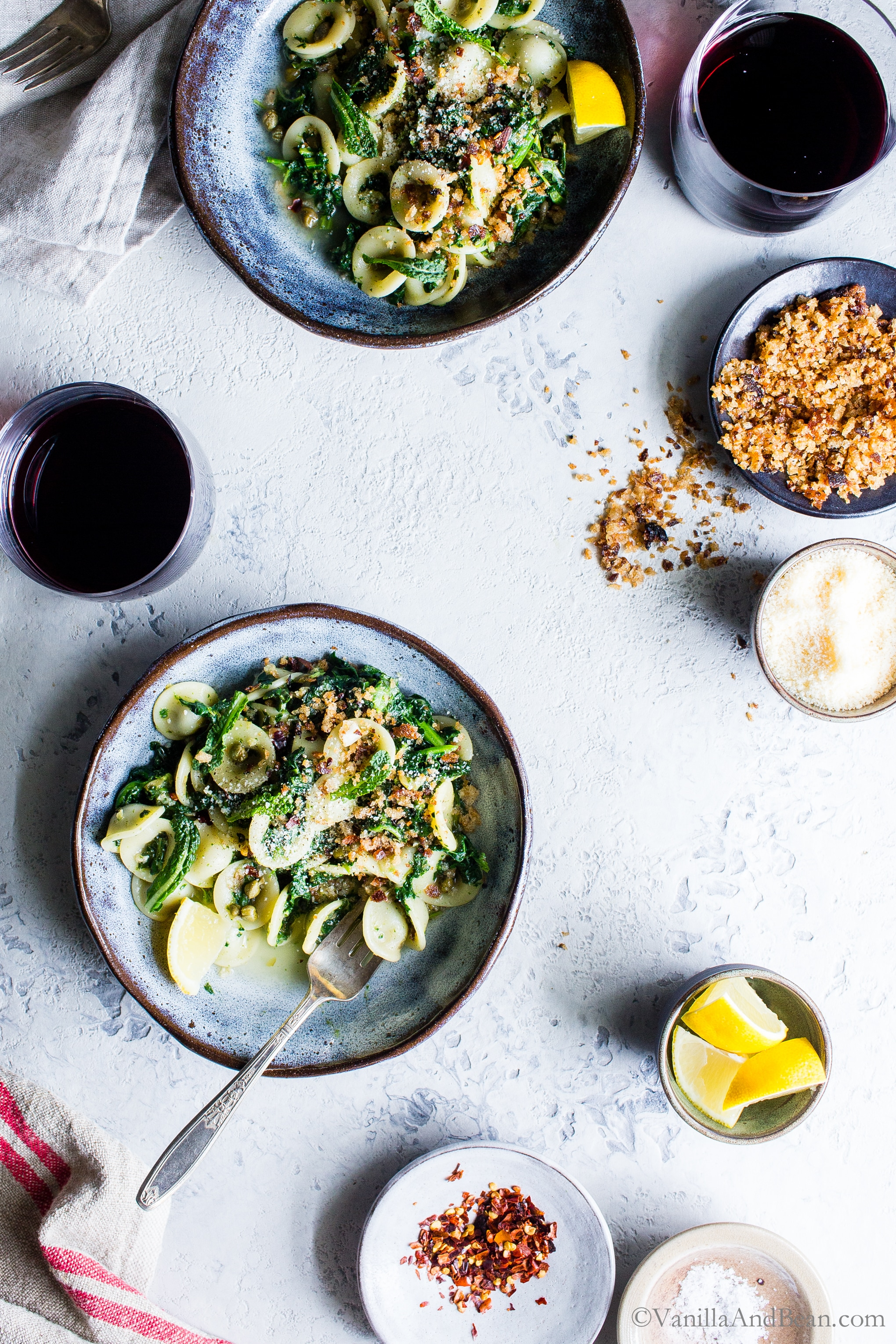 Orecchiette with Garlicky Kale and Breadcrumbs;  a hearty, flavor-packed pasta ready in about 45 minutes. #vegetarian + #vegan option #Dinner #Recipe #Pasta