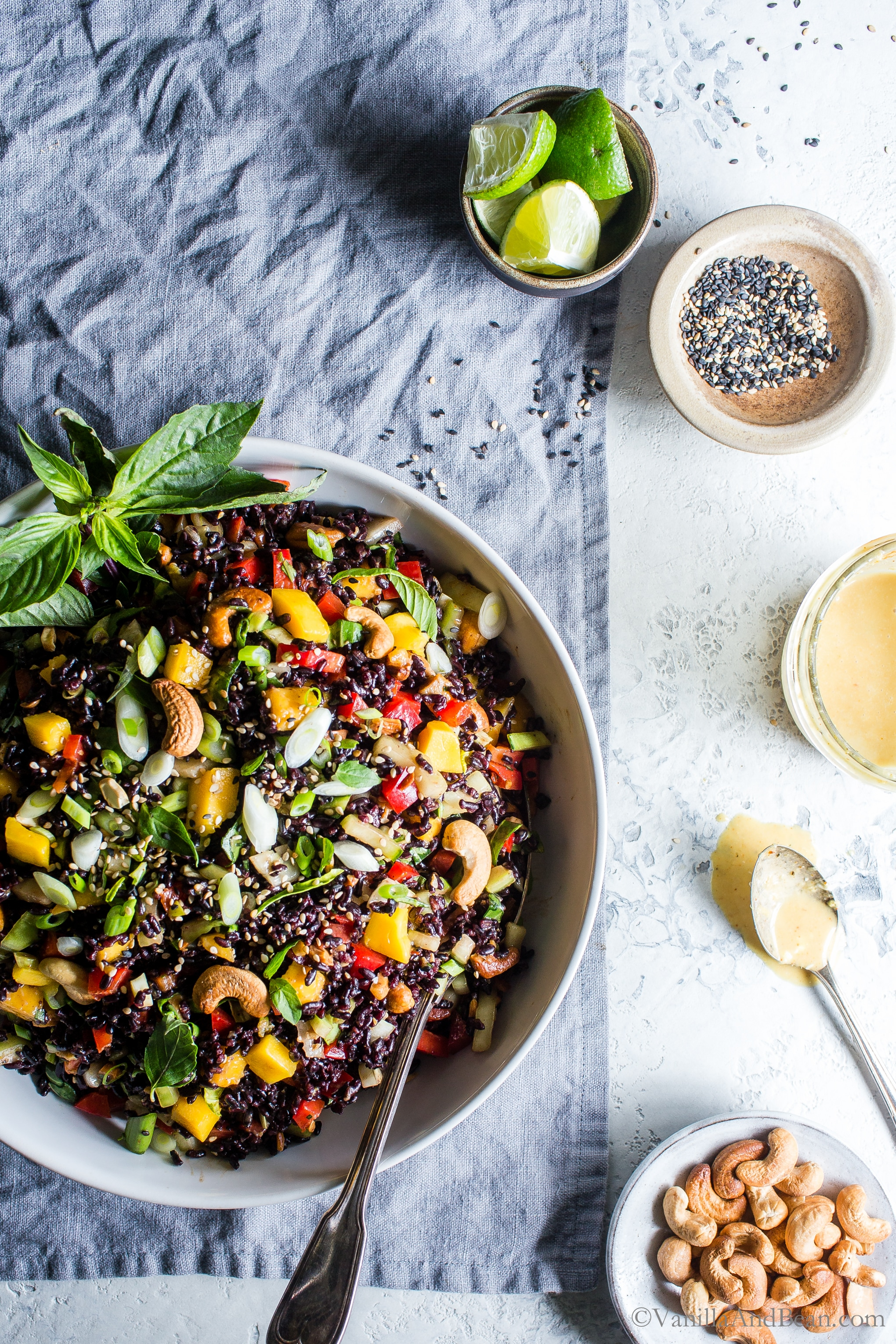 Packed with flavor and simple to make Forbidden Rice Salad with Mango, Bok Choy and Coconut Curried Dressing is meal prep easy, hearty and so satisfying! #VegetarianRecipes #Vegan #GlutenFree