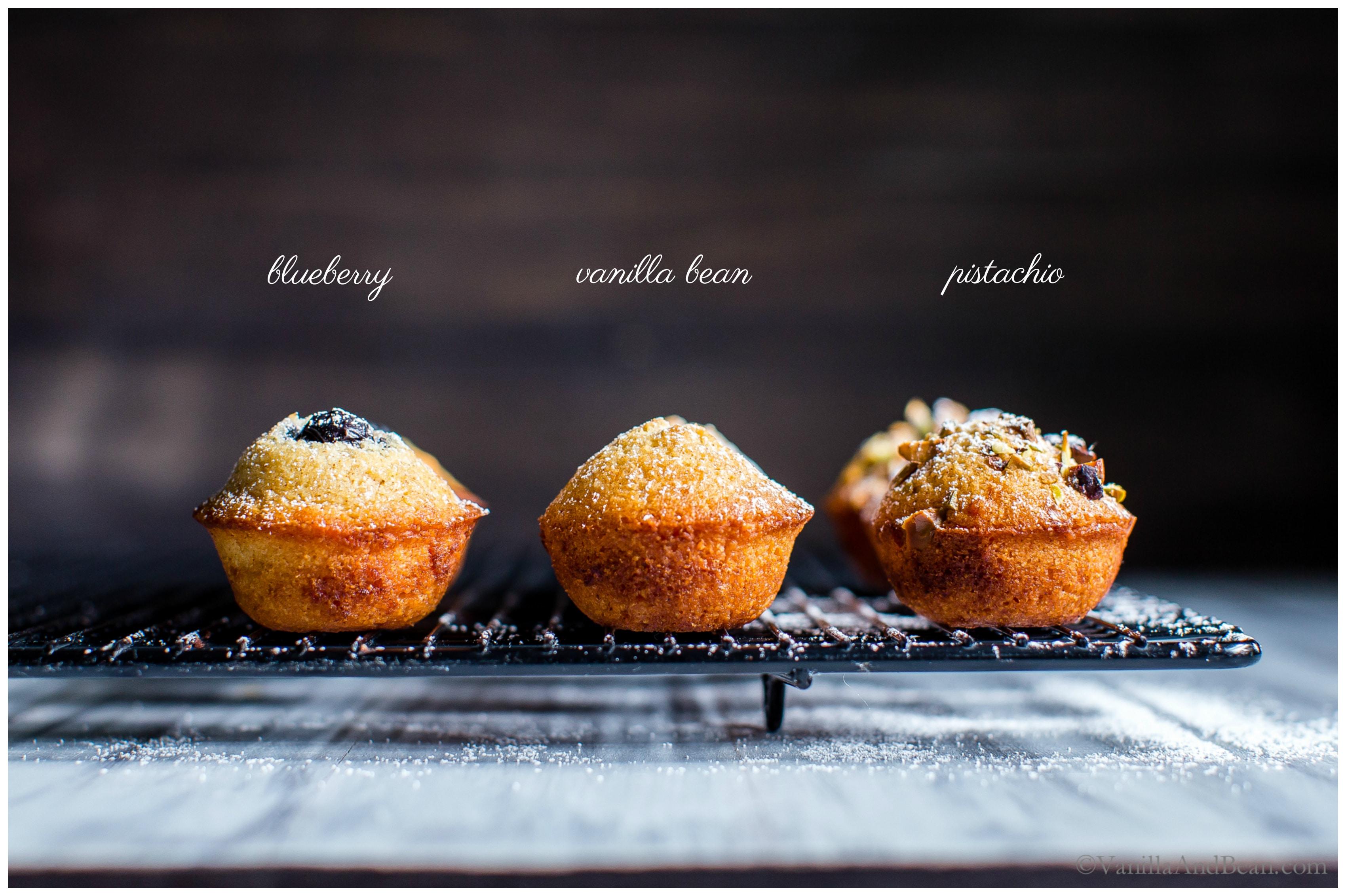 Almond-Orange Mini Tea Cakes with Brown Butter three ways - blueberry, vanilla bean and pistachio.