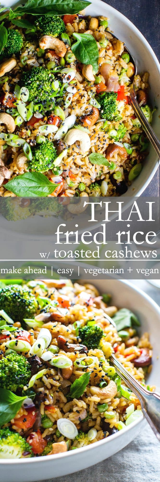 Thai Fried Rice with Toasted Cashews | Make ahead, weeknight make at home take out! Veggie packed and full on umami! This recipe is vegan + vegetarian + gluten free