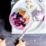 Blueberry-Rhubarb Pie Ice Cream Parfaits Overhead Shot