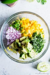 Mango Avocado Salsa ingredients in a bowl ready to be mixed.