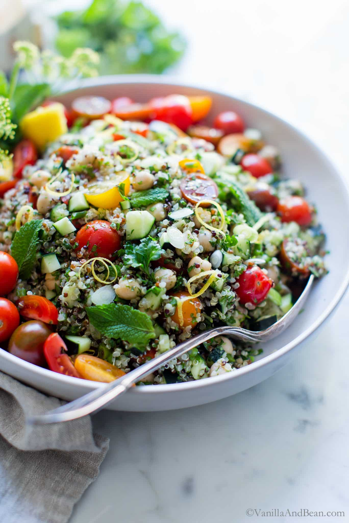 Quinoa Tabbouleh Salad with Chickpeas in a big bowl ready to be shared.