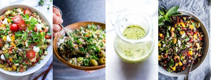 Fresh healthy salad recipes including three salad pictures and dressing in a collage.