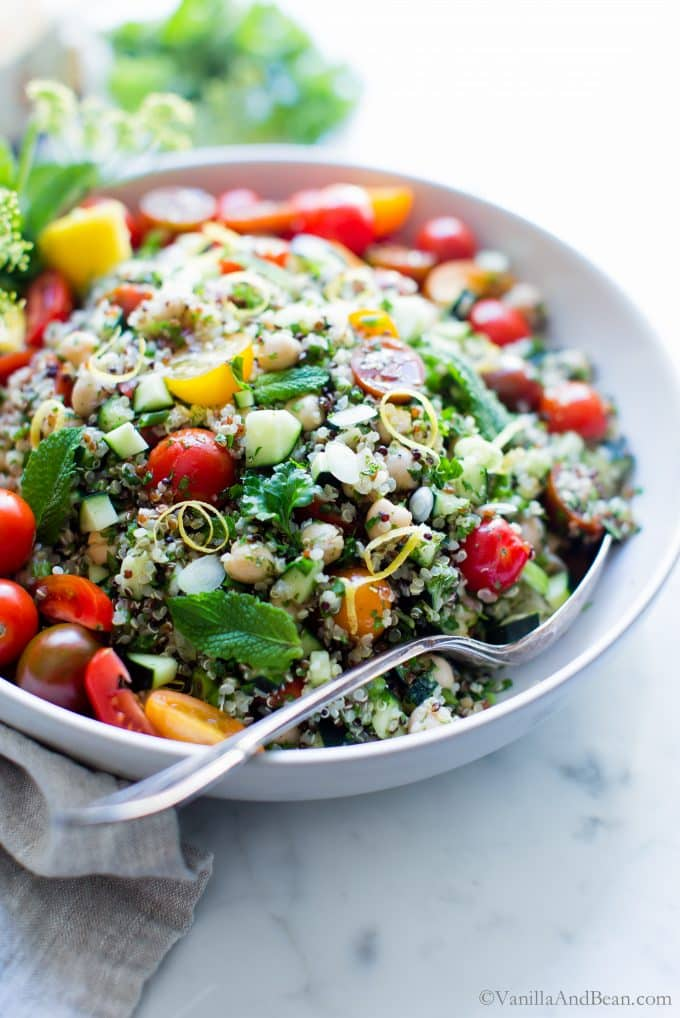 Quinoa Tabouleh Salad in a bowl ready for sharing.