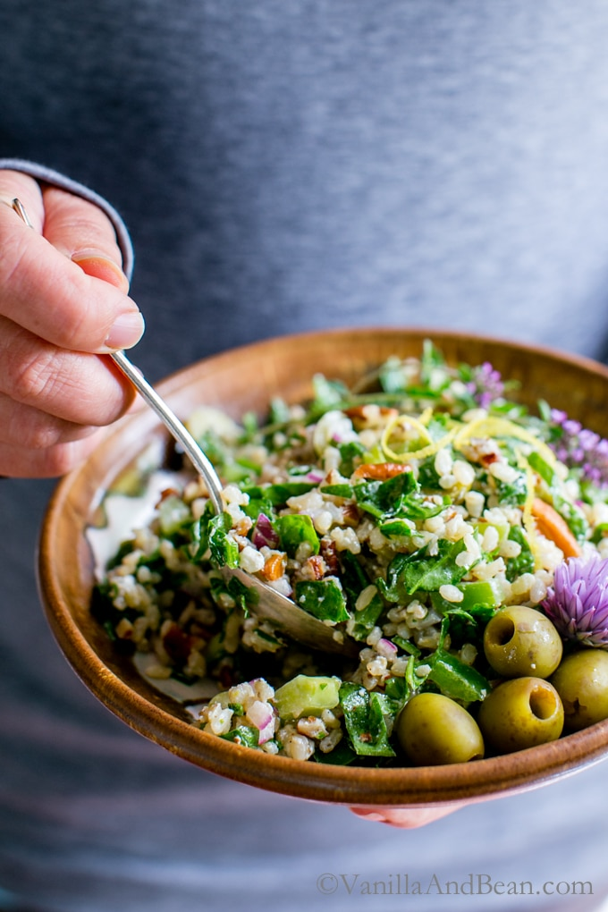 A fresh and wholesome salad perfect for a weekday lunch or weekend picnic. Make the brown rice at least one day ahead for meal prep. vegetarian with vegan option + gluten free