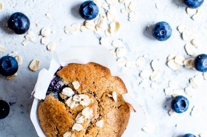 Naturally sweetened Blueberry-Oat Flax Muffins (gluten free + vegan)