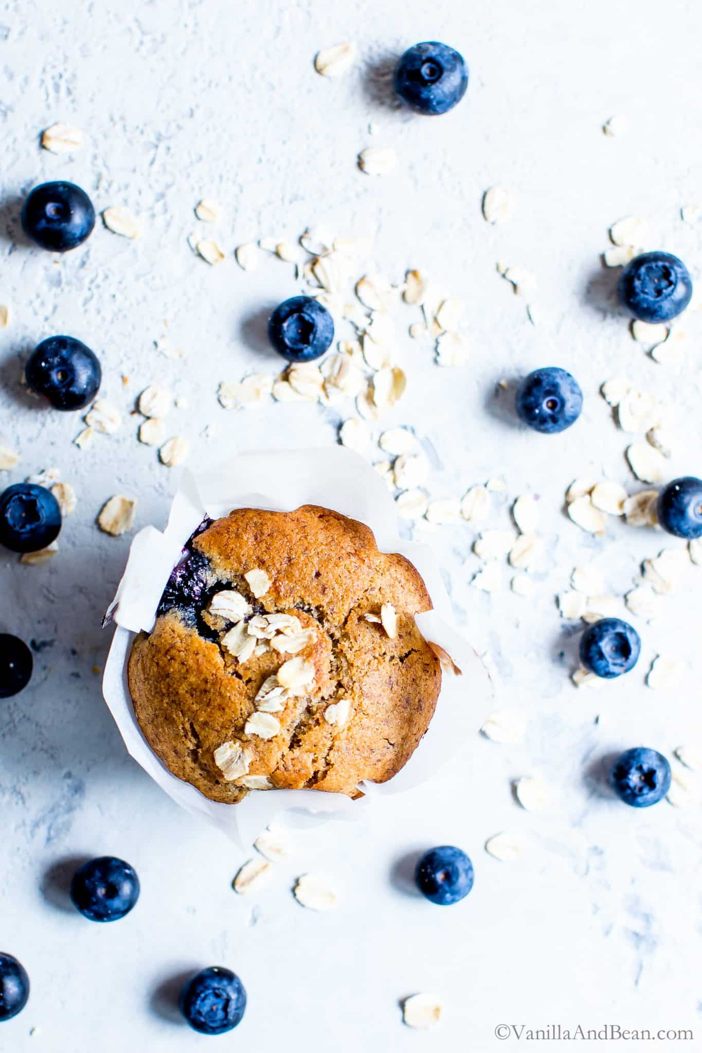 Overhead shot of naturally sweetened Blueberry-Oat Flax Muffin