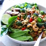 Thai Vegetable Cauliflower Fried Rice with Cashews in a large bowl ready for serving.