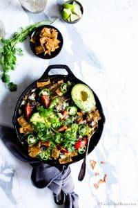 Overhead shot of Skillet Black Bean Vegetarian Enchiladas Verde ready for sharing.