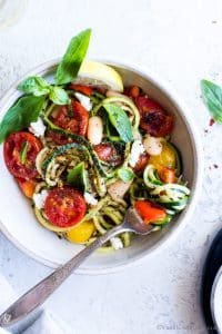 Overhead shot of Zucchini Noodles (Zoodles) with Roasted Cherry Tomatoes recipe.