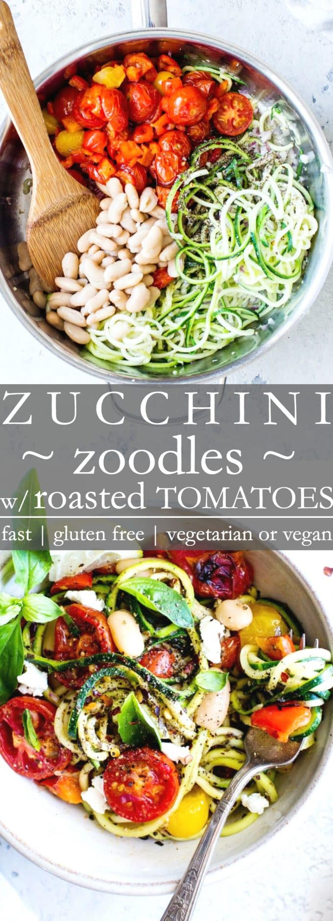 Zucchini Noodles with Roasted Tomatoes recipe: quick to pull together and packed with late summer veggies. I share how simple it is to cook zucchini noodles in a fabulous and easy zoodles recipe. A healthy pasta alternative when zucchini is in season! #VegetarianFood #VeganFood #Recipe #Zoodles #ZucchiniNoodles