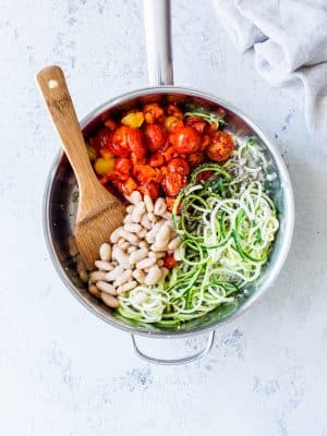 Overhead shot of Zucchini Noodles(Zoodles) with Roasted Cherry Tomatoes recipe.