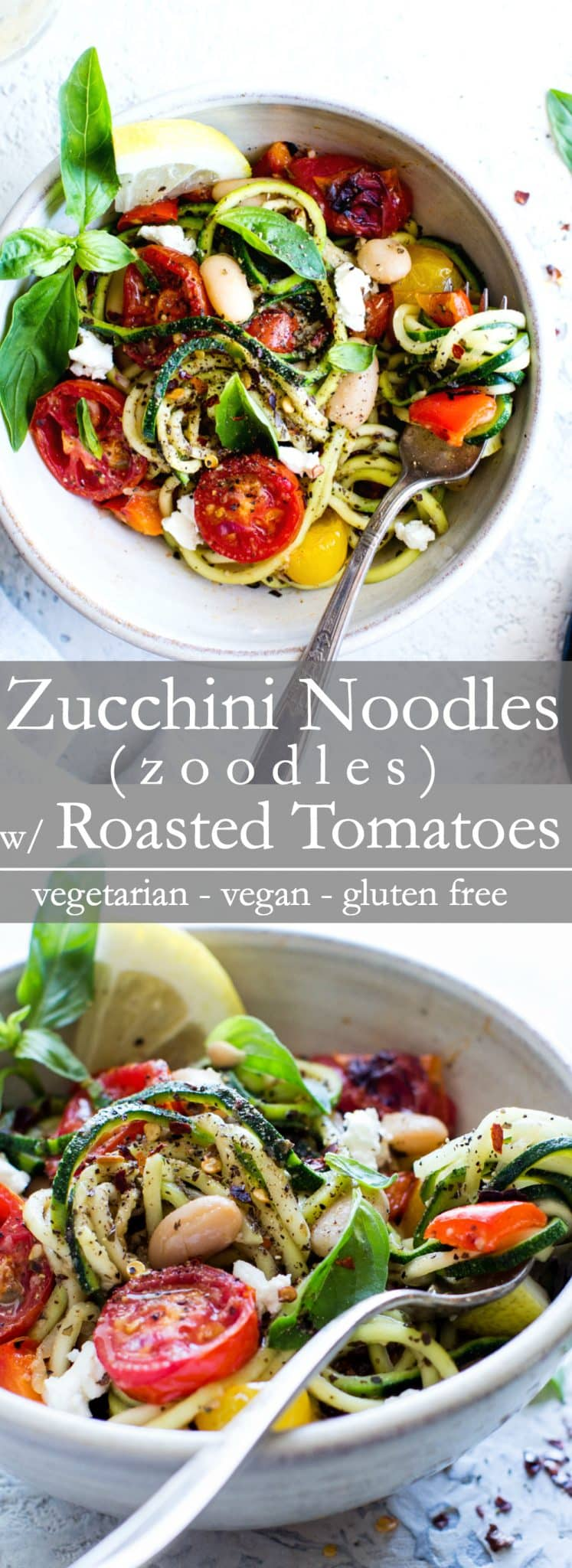 Zucchini Noodles (Zoodles) Recipe with Roasted Cherry Tomatoes recipe: quick to pull together and packed with late summer veggies. I share how simple it is to cook zucchini noodles in a fabulous and easy zoodles recipe. A healthy pasta alternative when zucchini is in season! #VegetarianFood #VeganFood #Recipe #Zoodles #ZucchiniNoodles