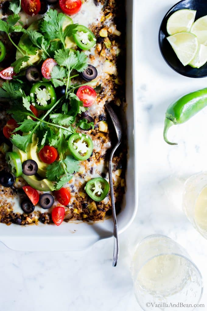 Overhead shot of Quinoa Enchilada Bake with Black Beans ready for sharing.