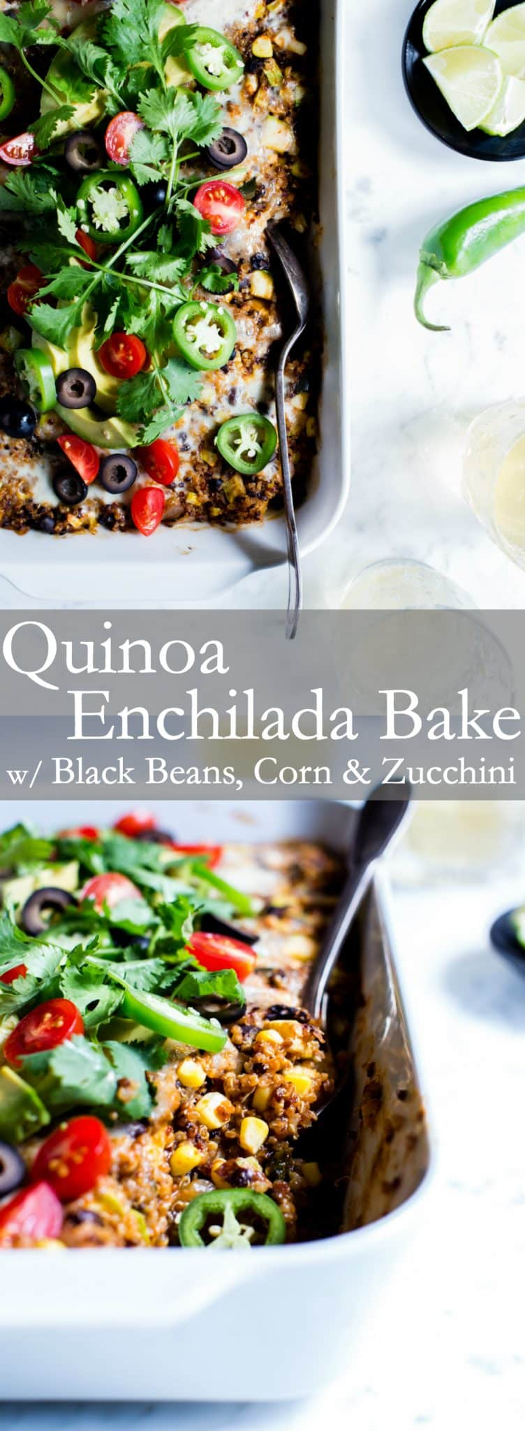 Chock full of veggies, black beans, cheese and homemade enchilada sauce, this Quinoa Enchilada Bake with Black Beans is a fabulous casserole to feed a small crowd. It's freezer friendly and makes for easy leftovers. #vegetarian #glutenfree #MexicanFood #Casserole #QuinoaBake
