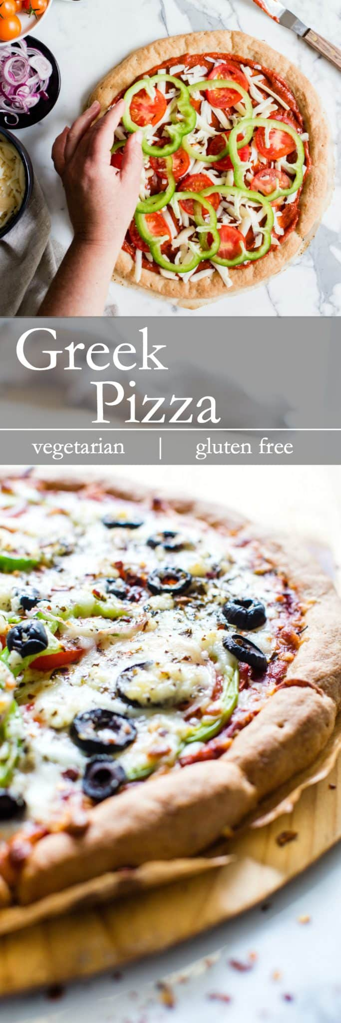 Simple ingredients create a fabulous homemade pizza. This Greek Pizza recipe is simple yet flavor packed! Make it for your next pizza night! #vegetarianPizza + #glutenfreePizza