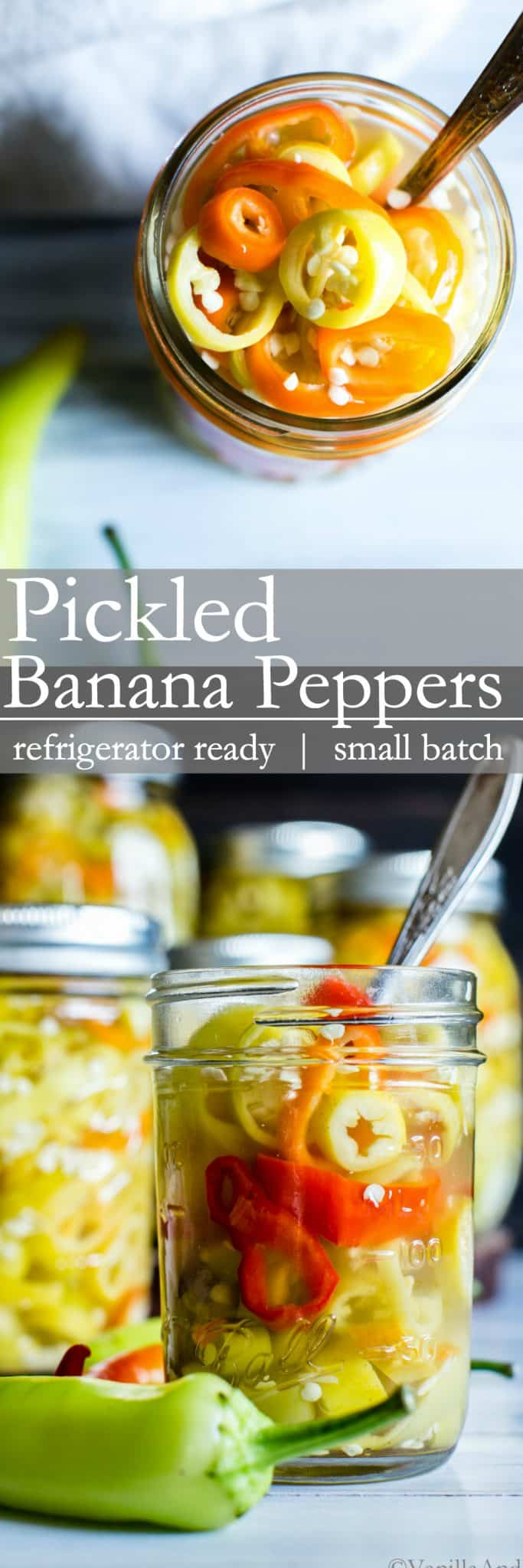 Super quick, refrigerator Pickled Banana Peppers are a fabulous component to sandwiches, pizza and for general snacking. Small batch and refrigerator ready! #vegan + #glutenfree