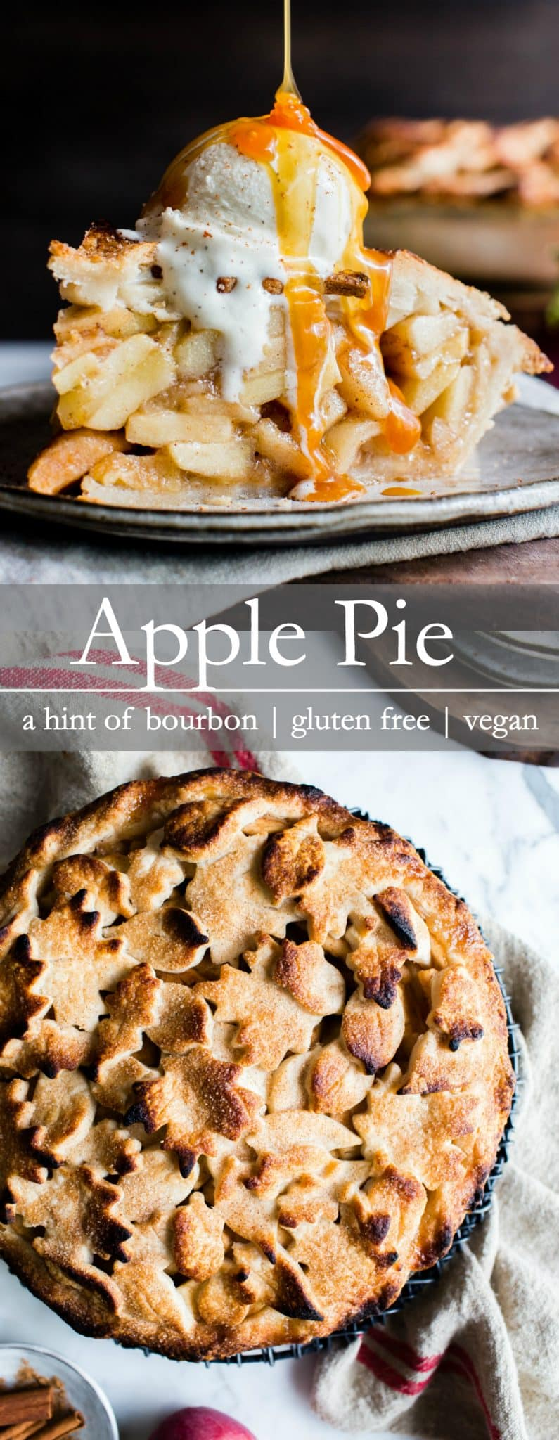Apple packed, slightly sweet with a hint of bourbon, this Apple Pie is gluten free + vegan, but you'd never know it. A tender-flakey coconut oil pastry with an easy cut out top crust makes this Apple Pie simple to assemble and fun to share. Apple pie for everyone! Hooray! #GlutenFreeApplePie #VeganApplePie #GlutenFreeVeganApplePie