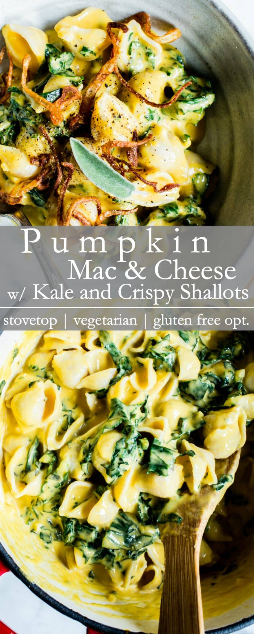 Flavor packed and texture rich with sneaky veggies, Stovetop Pumpkin Mac and Cheese with Kale and Crispy Shallots comes together quick and is freezer friendly. | #vegetarian and #glutenfree optional #MacandCheese #Recipe