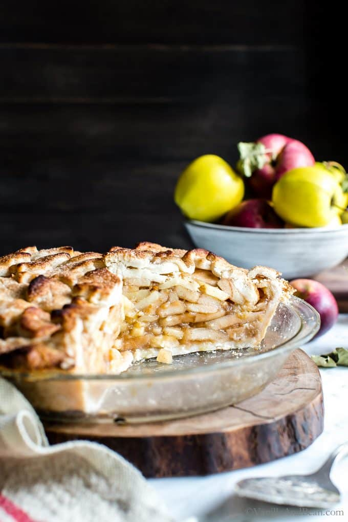 Cut Apple Pie in a pie plate ready for sharing.