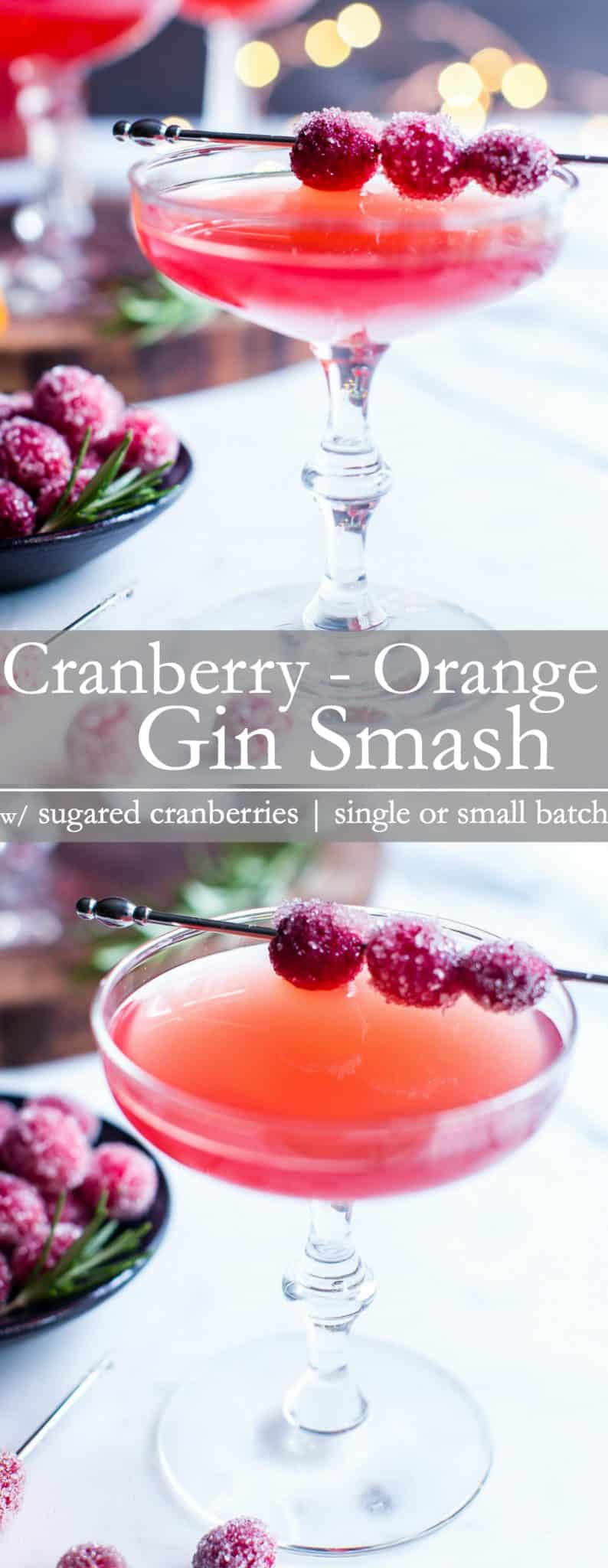Smooth, tart and a bit of sweet, this cranberry juice cocktail is muddled with fresh cranberries for the brightest flavors. A hint of rosemary gives this cocktail just a bit of intrigue. Cranberry-Orange Gin Smash is party pleasing! #HolidayCocktail #HappyHour #GinCocktail #AdultBeverave #CranberryJuiceCocktailRecipe #CranberryOrangeCocktail