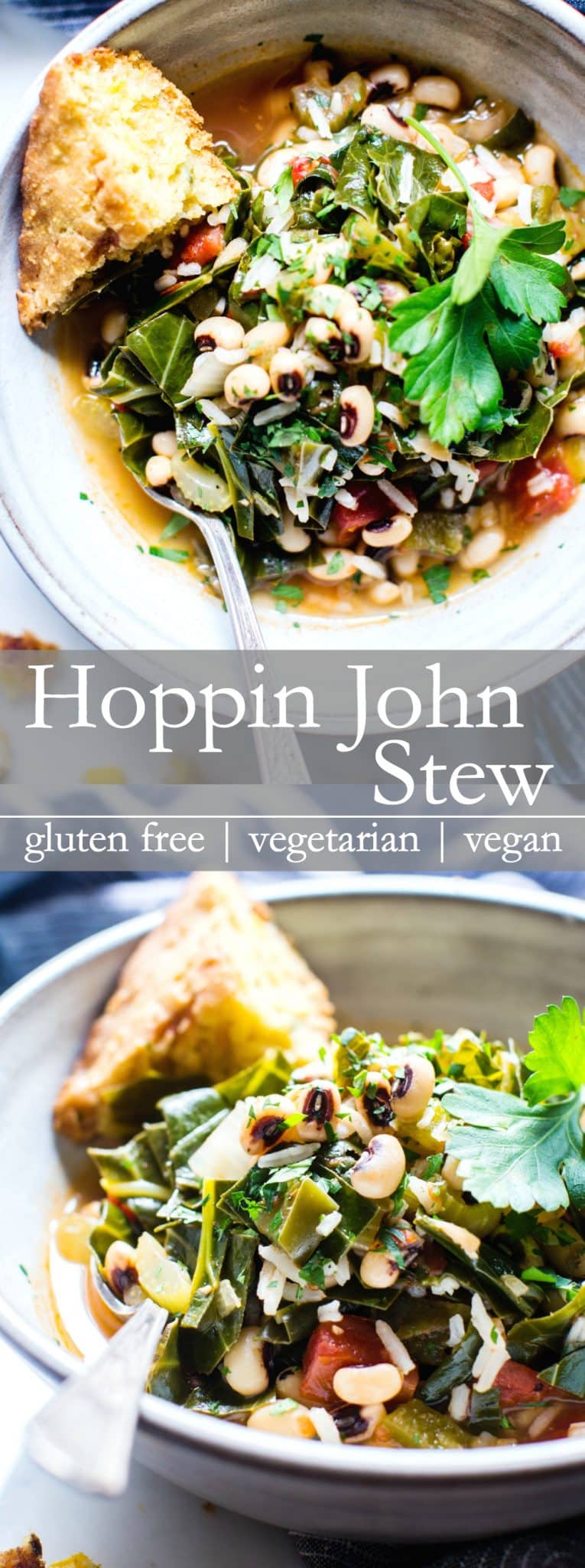 Traditionally made in celebration of the New Year, and to bring good luck, Hoppin John Stew is a favorite during the coldest months of the year. Hearty and comforting, serve with a side of cornbread to complete this filling meal! #glutenfree #veganfood #VeganDinner #VegetarianDinner #Blackeyedpeas
