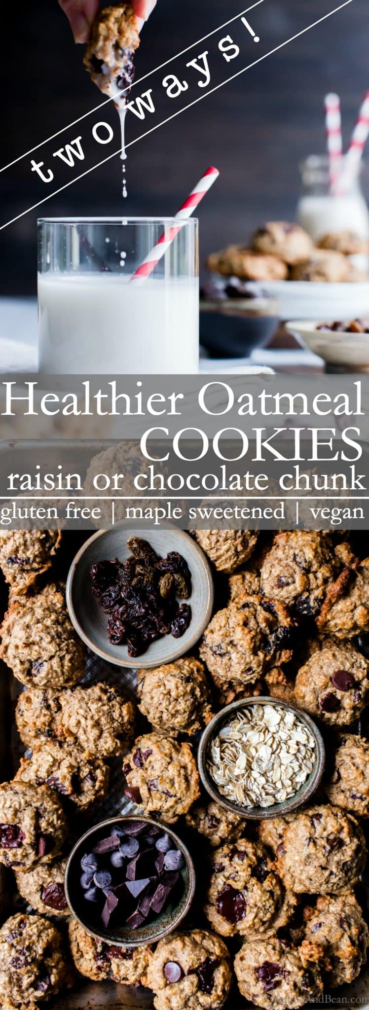 A healthier cookie for when you want to stay on track, but have a need to soothe that sweet tooth! Naturally sweetened Healthier Oatmeal Cookies - gluten free + vegan are soft and chewy, with just a hint of cinnamon. I've included two ways with Healthier Oatmeal Cookies: raisins or chocolate chunk! #GlutenFreeOatmealCookies #VeganOatmealCookies #HealthyOatmealCookies (ad)