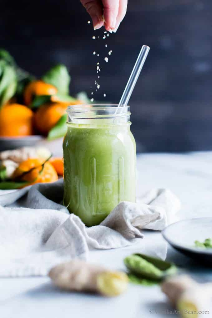 Ginger-Orange Matcha Green Tea Smoothie served in a jar with a straw